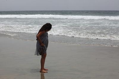 Jumanah explores the beach.