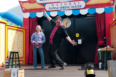 Sara, called onto the stage as an audience volunteer during a magician's show at Pier 39 in San Francisco.