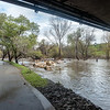 The Guadalupe River is at flood stage