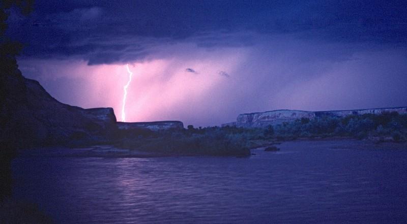 1988 San Juan River trip - Lightning on the San Juan