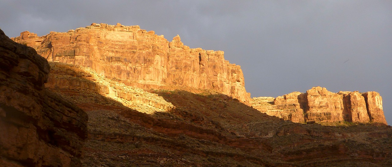 After the rainstorm, the evening light is beautiful at  Slickhorn Camp, Mile 88.5.