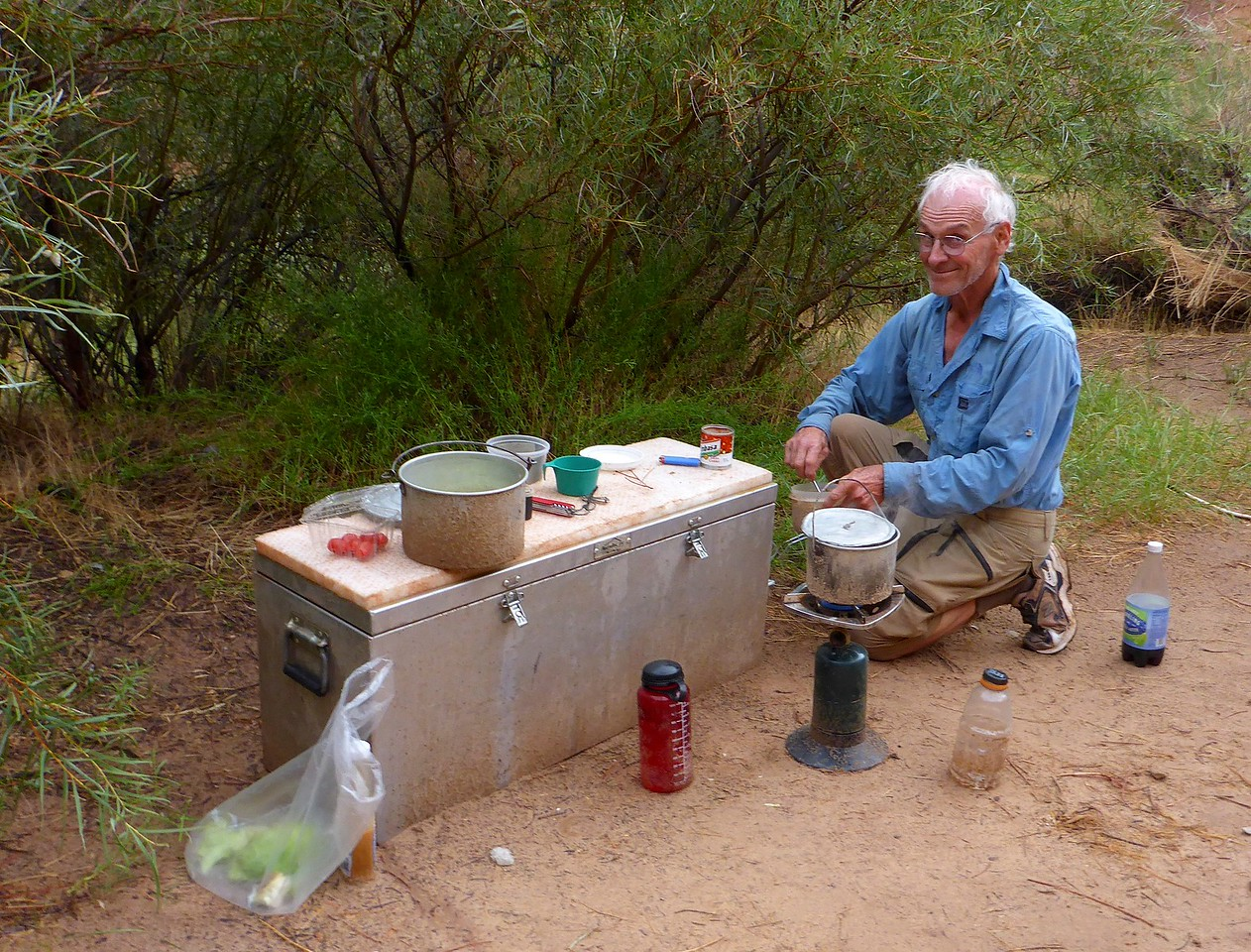 Dinner for Rich and Rena at Slickhorn camp.<br /> Photo by Rena Tishman.