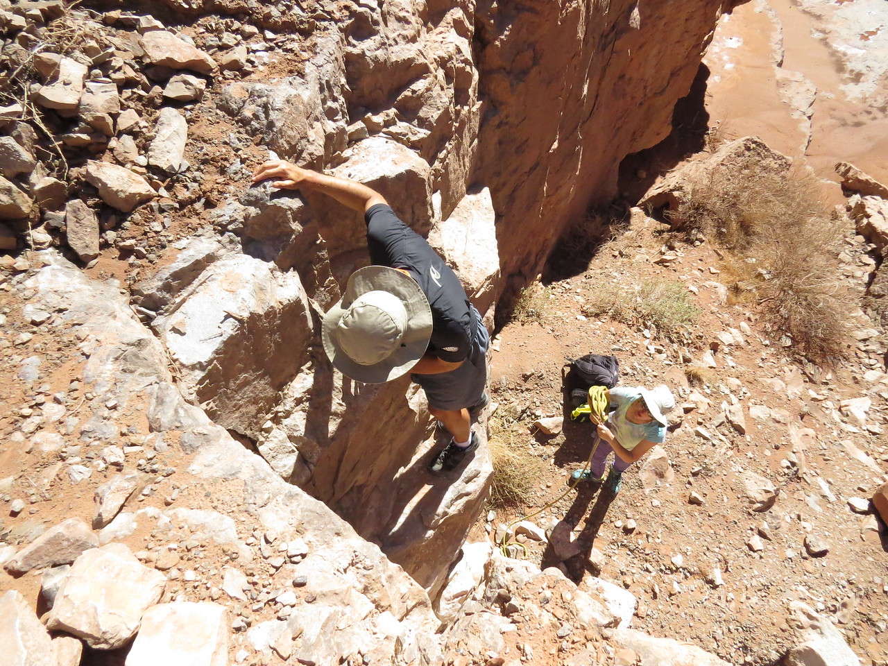 Then another 12-foot Class 3 descent similar to the up climb.