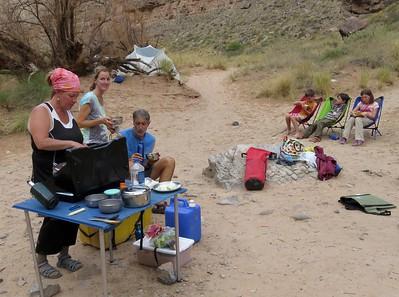 Preparing dinner at Honniker Camp.