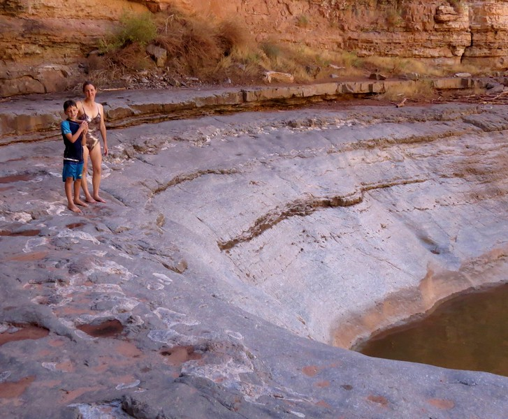 Marla and Alex at the upper end of the pool. Marla slid down this rock slide 29 years ago.