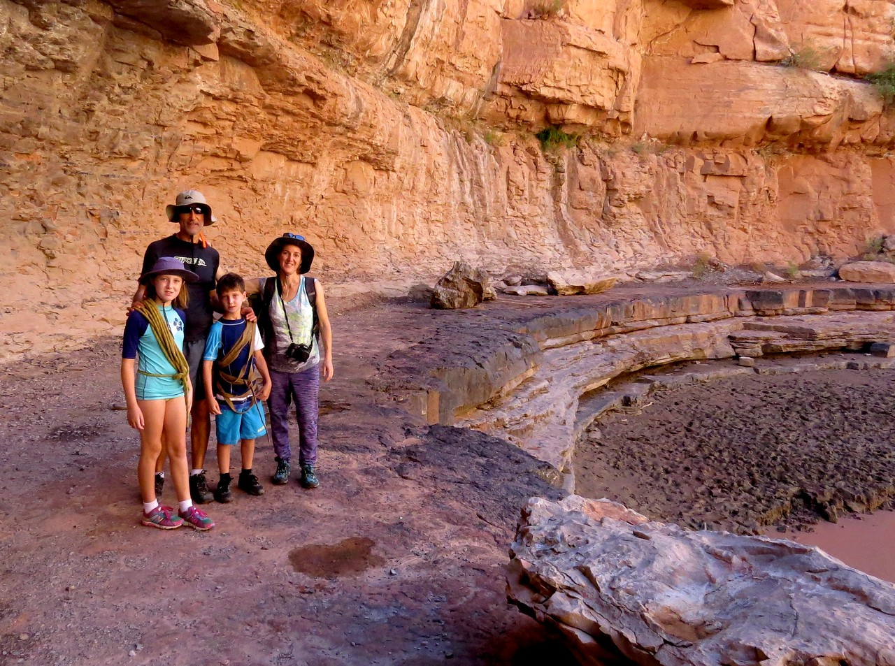 John's Camp had a good place for the kids to swim and there was also a pool up above the pour-over. Here the Azriel family is ready for the hike and climb to the pool.
