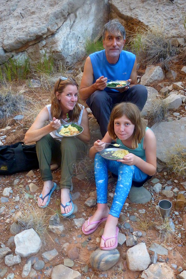 Dinner on Day 2 at Mendenhall Loop Camp at Mile 30.6.