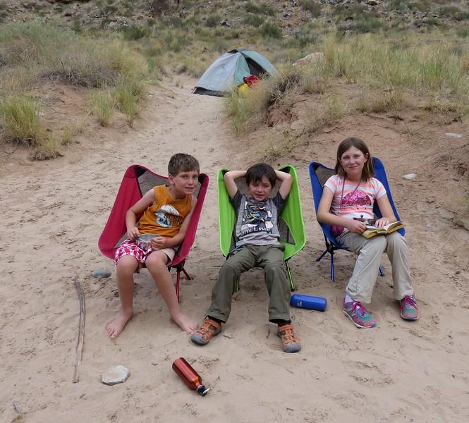 Relaxing at Honniker Camp.