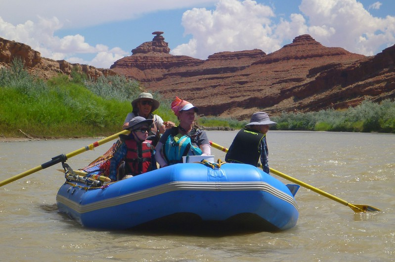 A landmark on the river is the rock formation called Mexican Hat. Can you find it?