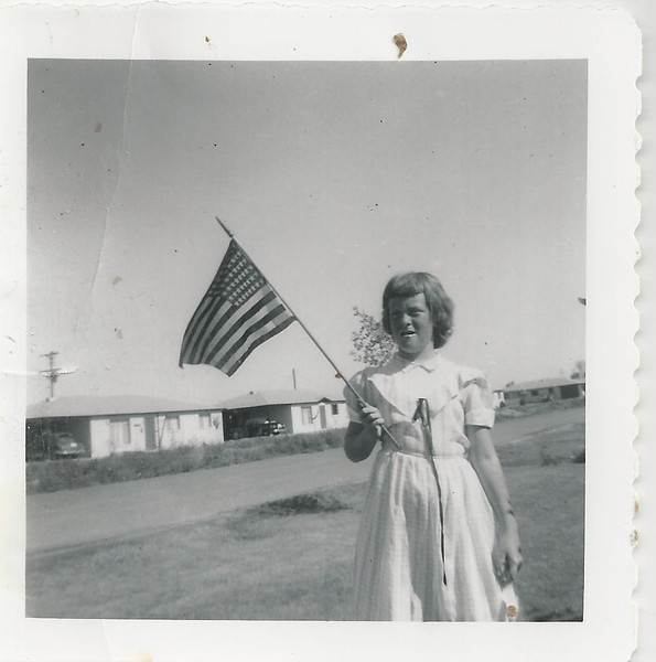 sandy and flag