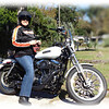 Sandy on her 2008 Harley Davidson.