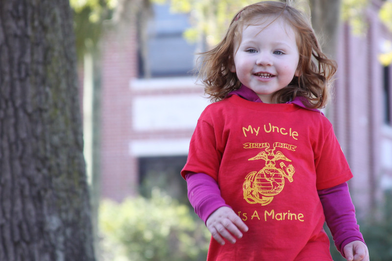 Josie at Uncle Kasey's graduation at MCRD Parris Island, SC. (Photo by Sandy Pomeroy)