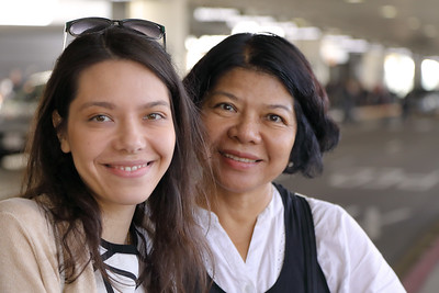 Mother & daughter reunited at LAX. Father and husband and kitty and doggie all overjoyed.