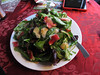 20121225 - Amy made me a spinach salad w/ apple rind, almonds, raisins, vinaigrette!