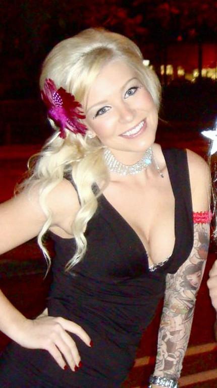 Sarah with fake tattoo