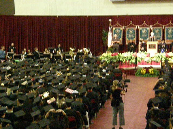 This is just a clip panning around showing crowd and graduates.