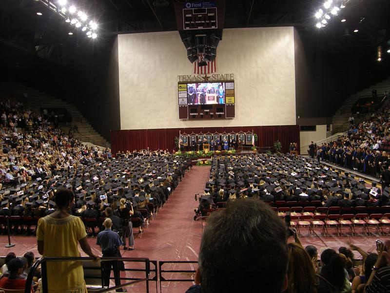 Graduates listen as the ceremony progresses.  Sarah's college graduation.