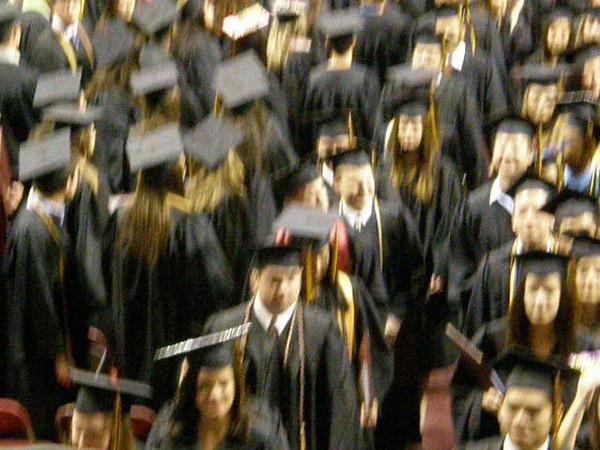 Sarah walking back out after the graduation ceremony.  Great job Sarah!