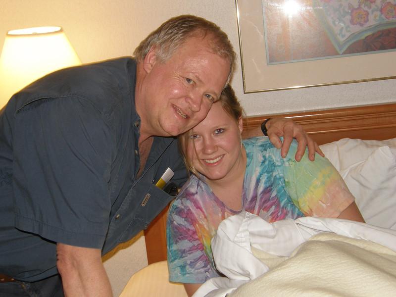 Daddy and Katie.  Get up Katie!