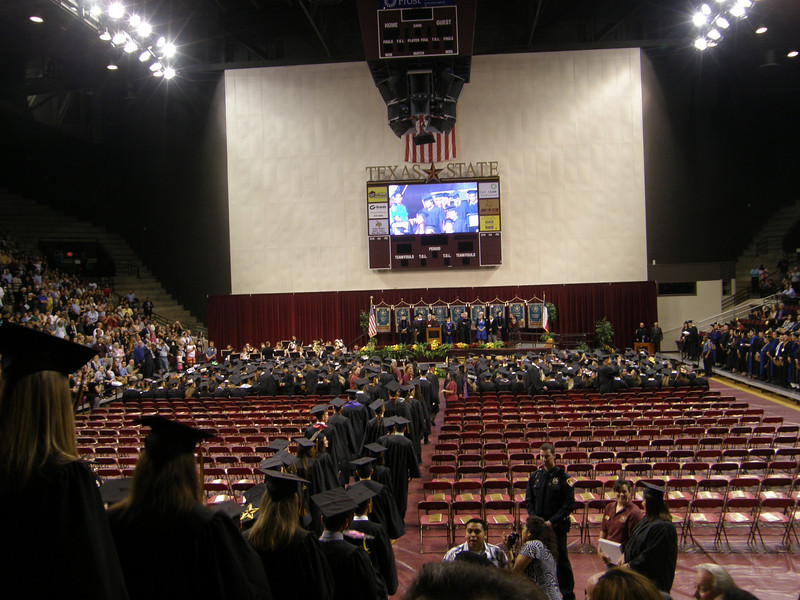 There was a big screen that you could watch and actually kinda see what was happening at the front.  Sarah's graduation.
