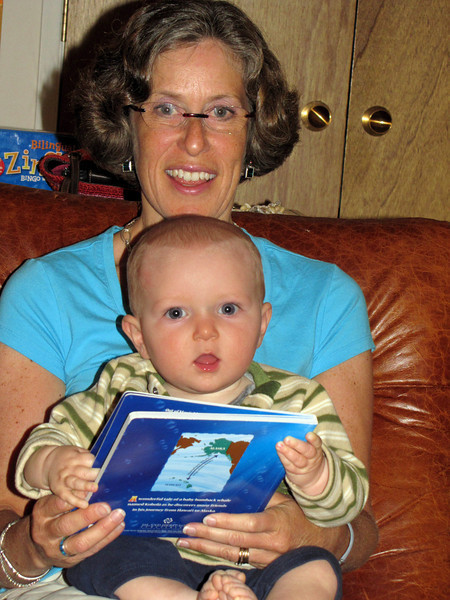 85 Kathy Goldgeier holds Karl and he holds her gift