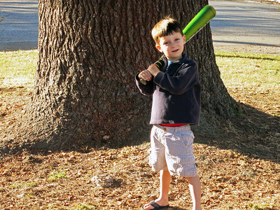 Batting practice on the Forest Avenue island. He did very well.
