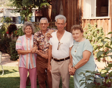 The twins and their wives Helen, Clifton, Clifford, Clarice - ? Wedding/Anniversary at The Ranch, Summerland, CA - date unknown