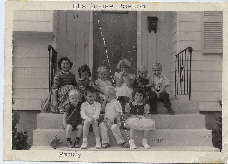 Porch of BF Hinton in Boston  Randy, Becky, and Kathy Hinton, and Pam Childers, plus neighborhood children
