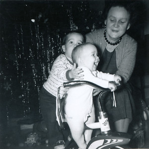 Mayme Galligan with her grandkids, John (19 months) and Kathy Kane (7 months). Christmas Day, 1962. Gray Drive, Killeen, Texas