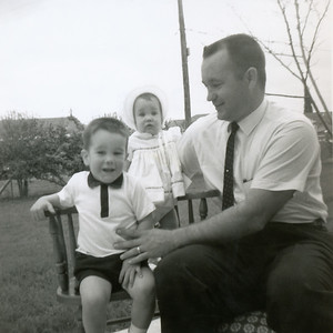 Grady, John (22 months) and Kathy (10 months) Kane. March 1963. Gray Drive, Killeen, Texas?