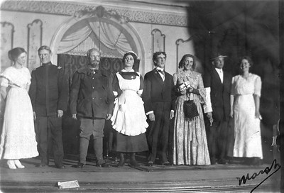 Clara Bender (center) in Ladies Guild play, February 28, 1913 (location?)
