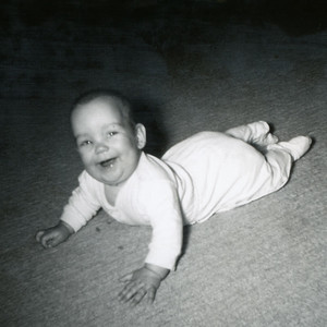 Adventure on the floor. Kathy Kane, 4-1/2 months. October 1962. Gray Drive, Killeen, Texas.