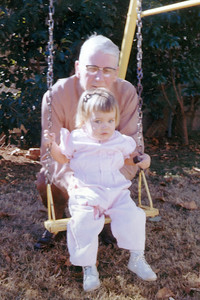John Galligan with his granddaughter, Kathy Kane, Christmas 1963. Gray Drive, Killeen, Texas