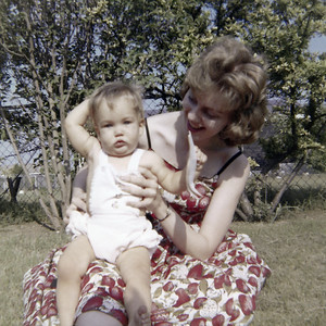 Kathy celebrating her 1st birthday with Cheryl Hahn. Gray Drive, Killeen, Texas. May 1963.