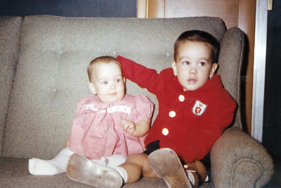 John (19 months) and Kathy (7 months) Kane. Christmas Day, 1962. Gray Drive, Killeen, Texas.