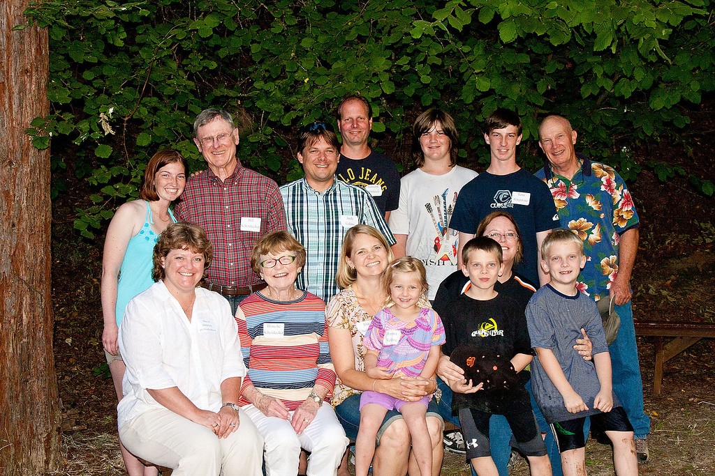 Back row: Isabella Porporato, Bill Scheidecker, Andy Velline, Edward Dittrich, Vince Porporato, Tony Porporato, Richard Buzz Cleek.  Front Row: Stacy Scheidecker Dittrich, Blanche McKell Scheidecker, Lisa Scheidecker Velline with her daughter Hanna, Sue Scheidecker Cleek with sons Joe and Ted.