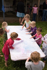 Shaving cream table was a hit!
