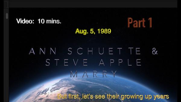 Part # 1 marriage video ~~ Ann Schuette & Steve Apple