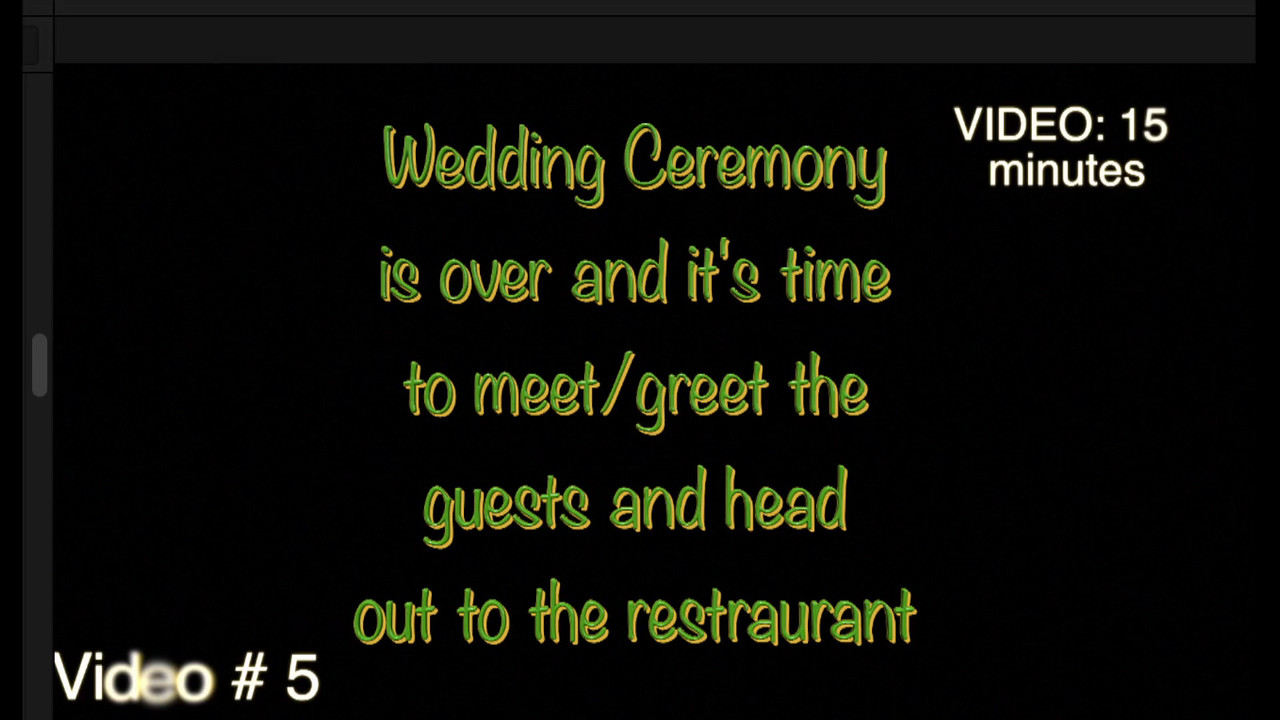 Post Wedding Ceremony and off to t the restaurant.  Video # 5, 12minutes