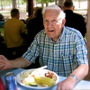 Hunka Joe enjoying reunion meal in Harrison