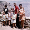 Grand Canyon stop over for California family members - they had visited Michigan and were headed back home. (adults L>R) Mary and Rick Hayes, Nola Wright - Children > Tani, Rickie Sue, Cheyanne, Dawn and Teri Ann in Nola's arms.