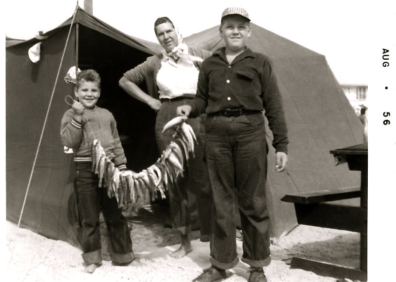 JIm, Ruth and Bill at Grand Haven State Park - Mom and I would get up at 5:00 am, take a bucket of minnows out on the pier and rig up. Sometimes we would catch THREE yellow perch in one hit! Usually got our limit - BOY were they ever good to eat!