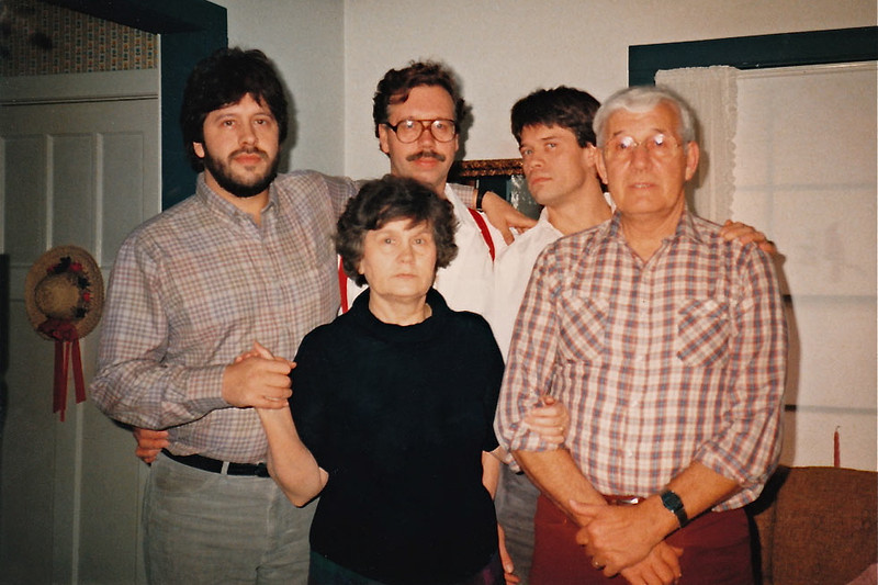 Joe Schwartz family > (Rear) Jeff, Brad, Mike - (FRT) Betty Bay Valliere'-Schwartz and Uncle Joe.