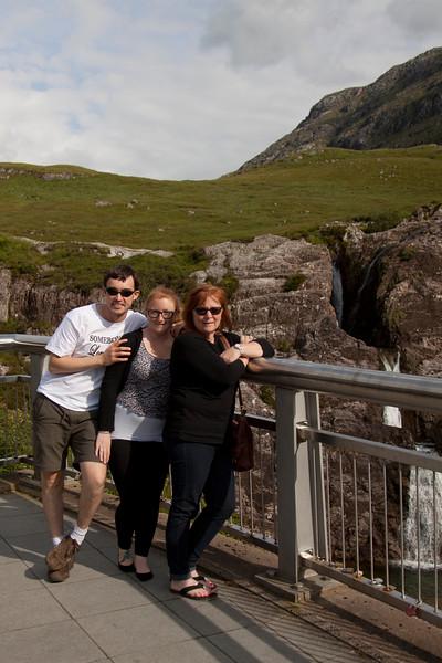 Ewan, Michelle MaryJean Allt Lairig Eilde waterfall .
