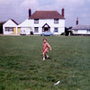 Christine on town lawn in Throwley, Kent, England