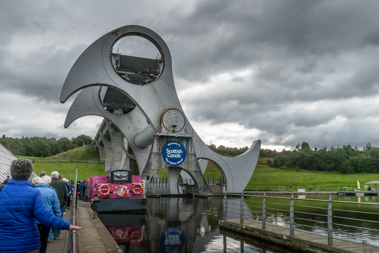 Our tour group approaching the Antonine for a ride on the Falkirk Wheel