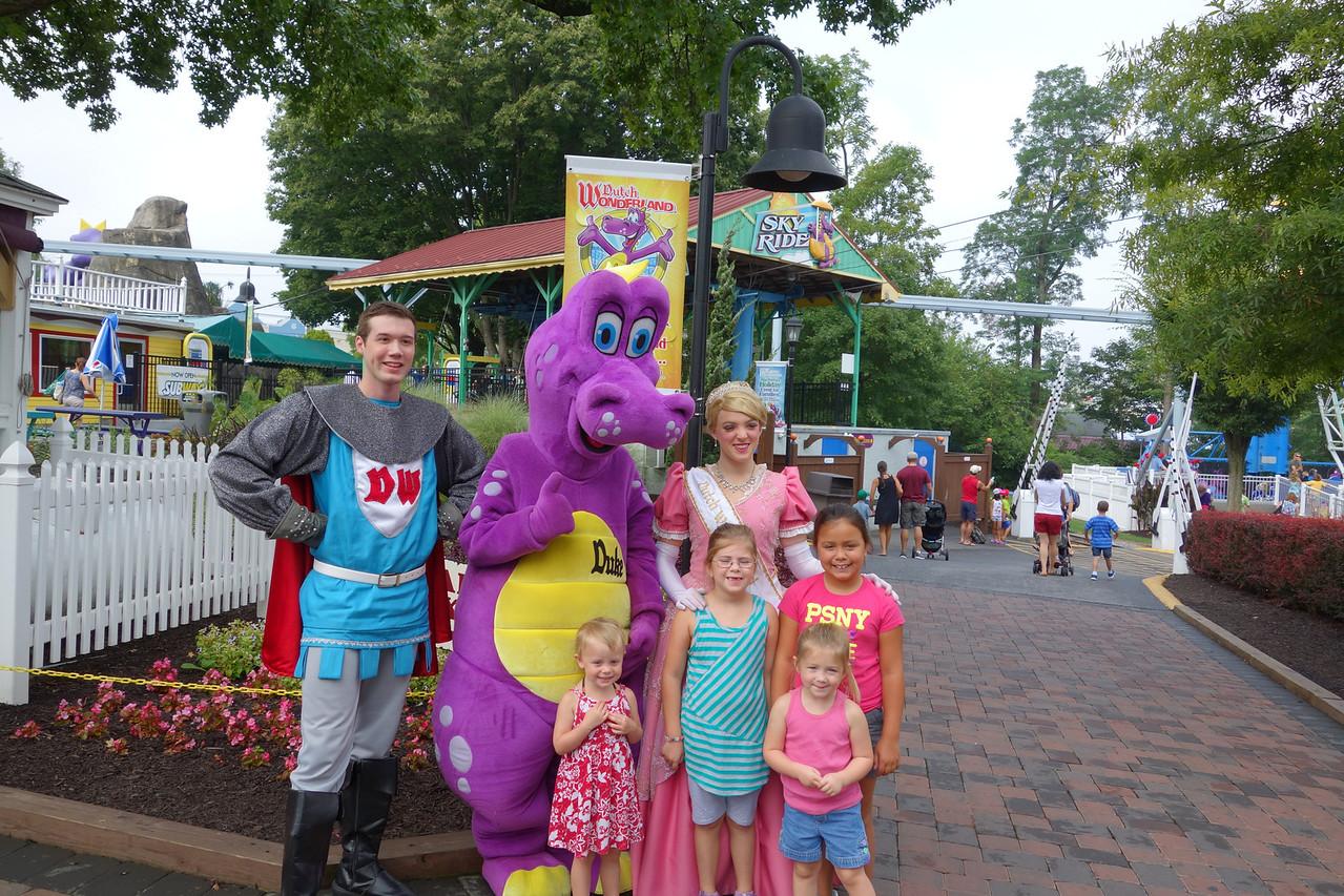 Annual trip to Dutch Wonderland.  Alison, Anna, Kaidyn and Katrina with the Prince, Princess and Dragon