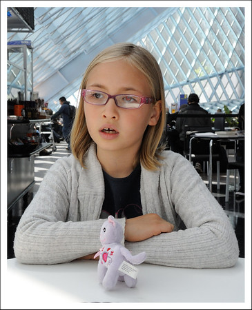 Monday morning we took the kids to the Seattle public library.  It is one of my favorite buildings in Seattle.  This is Frankie with her brand new glasses.
