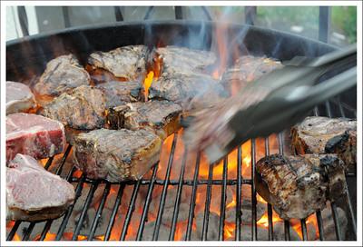 Lamb chops on the BBQ.