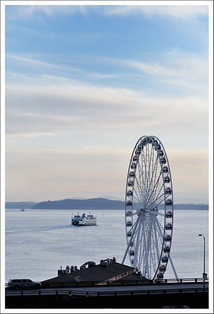 Seattle has a new ferris wheel.  This was taken from Harbor Steps 5th floor BBQ terrace.